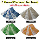 6 x TERRY Checkered Tea Towels 100% COTTON - BLUE GREEN ORANGE LATTE