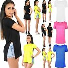 Womens Ladies Cap Sleeve Crew Neck Plain Side Split Slit Hi Low Long Top T Shirt