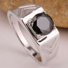 Customized Size Round Stone Solid .925 Sterling Silver Ring Men Jewelry