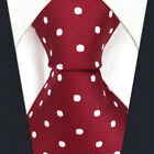 S15  Men's Tie Silk Extra Long Size Dots Red Crimson Classic Design Wedding New