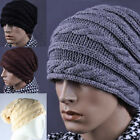 Men's Crochet Cable Baggy Slouch Beanie Skull Ski Cap Hat Black Grey Beige Brown