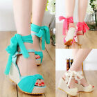 Fashion Peep Toe Sandals Platform Pump Bowknot Ankle Strap High Heel Wedge Shoes