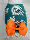 DOG CAT FERRET Harness~Miami NFL Team DOLPHINS Cheerleader ORANGE Bow & Lace