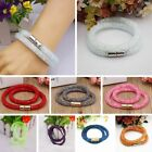 Colorful Stardust Crystal Wrap Mesh Magnetic Clasp Double Bracelet Bangle Gift
