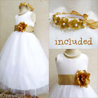 Gorgeous White/gold wedding flower girl party dress FREE HEADPIECE all sizes