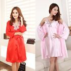 New Womens 3/4 Sleeve Satin Silk Lingerie Robes  Sleepwear Nightwear Nightdress