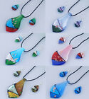 Fashion Stylish Women Twisted Beauty Glass Glaze Pendant Necklace Earrings Sets