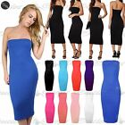 Womens Ladies Bandeue Boobtube Strapless Plain Midi Jersey Bodycon Dress