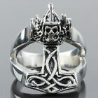 Unisex Punk Thor's Hammer Devil Evil Skull Monster Stainless Steel Finger Ring