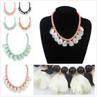 New Charm Womens Chunky Crystal Bib Statement Chain Bib Necklace Pendant Party