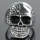 Unisex Punk Gothic Stainless Steel Skeleton Skull Head Charm Finger Ring Jewelry