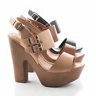 Rudy11 Strappy Multi Buckle Faux Wooden Platform Chunky Heel Sandals