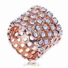 ARINNA simple Cocktail Fashion band Ring rose gold GP clear Crystal