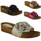 WOMENS LADIES SLIP ON FLOWER MULES LOW HEEL SANDALS WEDGES SHOES SLIPPERS SIZE