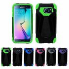 For Samsung Galaxy S6 Edge Hybrid Dual Layer Hard Soft Case Cover Skin w/ Stand