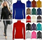 NEW SUMMER WOMENS LADIES GIRLS POLO NECK LONG SLEEVE TURTLE TOP TOP JUMPER 8-26