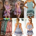 Women Sexy Summer Casual Elephant Print Cocktail Party Evening Beach Mini Dress