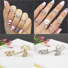 3pc Fashion Women's Metall Gold/Silver Leaf Branch Above Knuckle Finger Ring Set