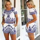 Sexy Women Blue White Floral O-Neck Tops Blouse Shorts 2 Piece Set #F8s