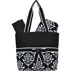 Shabby Damask Print Quilted 3pc Diaper Bag