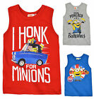Boys Minions Vest Kids Despicable Me Minion Sleeveless Top New Age 3 4 6 8 Years