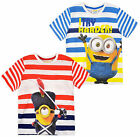 Boys Striped Minions T Shirt Kids Despicable Me Minion Tee Top New Age 3-8 Years