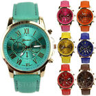 New Women Girls Sweet Geneva Roman Numerals Faux Leather Quartz Wrist Watch