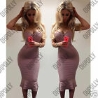 Womens Bodycon Evening Bustier Pencil Ladies Cocktail UK Bandage Midi Long Dress