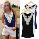 Sexy Womens Lace Casual Sleeveless Tank Tops V-Neck Vest T Shirt Blouse 3 Colors