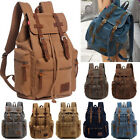 Mens Vintage Canvas Backpack Satchel Rucksack School Bag Travel Camping Bag New