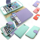 Pastel Color Leather Kickstand Wallet Case Flip Cover For Apple iPhone Galaxy LG