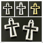 10PCS Assorted Colors Vintage Style Alloy Hollow Cross Pendant Charm Pray Cross