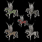 Fashion Pegasus Horse Pendant Necklace Rhinestone Silver Party Sweater Jewelry