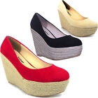 9853 Womens Slip On High Platform Shoes Round Toe Ladies High Wedges Pump