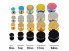 1 Pair Fake Ear Plug Stud Stretcher Tunnel Earring Piercing Stainless Steel
