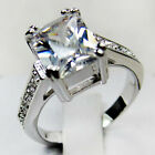 Size 6-10 White Sapphire Crystal Wedding Ring 10KT Gold Filled Womens Jewelry