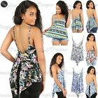Womens Ladies High Low Back Split Flared Strappy Cami Swing Vest Top plus Size