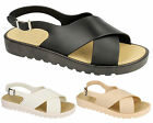 Ladies Womens Flats Crossover Strap Summer Jelly Slider Mules Sandals Shoes Size