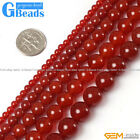 """Free Shipping Round Smooth Gemstone Red Agate Beads Strand 15"""" Selectable Size"""
