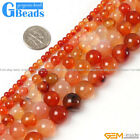 "Round Gemstone Red Carnelian Jewelry Making Beads Strand 15"" Selectable Size"