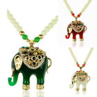 Long Jelly Elephant Pendant Glass Beads Chain Diamante Necklace Gift Fashion