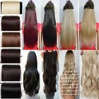 "UK Real long 24"" New Women Hair Extensions Wavy Curly/Straight Clip on one piece"