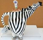 BLUE SKY CLAYWORKS ZEBRA CERAMIC COLLECTABLE TEAPOT WITH TOUCAN ON THE LID  BNIB