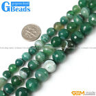 "Round Faceted Green Banded Agate Gemstone Loose Beads Strand 15""Free Shipping"
