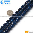 "Round Faceted Dark blue Gemstone Agate Beads Strand 15"" Free Shipping"