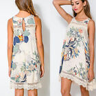 Lady's Floral Print Boho Day Shift Casual Summer Beach Party Cocktail Mini Dress