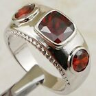 Size 5.5 6.5 7.5 8.5 Red Garnet Three Stone Jewelry Gold Filled Lady Ring K2187