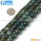 "Natural Round Faceted Moss Agate Gemstone Beads Strand 15"" Free Shipping"