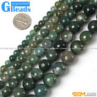 "Natural Round Gemstone Moss Agate Beads Strand 15""Free Shipping"