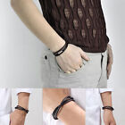 Fashion Womens Mens Black Leather Interlaced Cuff Bangle Wristband Bracelet LCA
